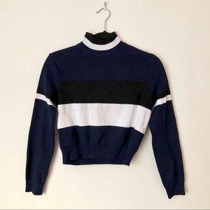 Zara Colorblocking Striped Turtle Neck Sweater